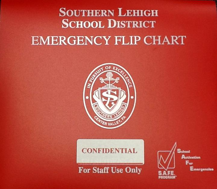 Each classroom is equipped with an emergency flip chart to remind faculty and staff of proper procedure in a variety of crisis situations.