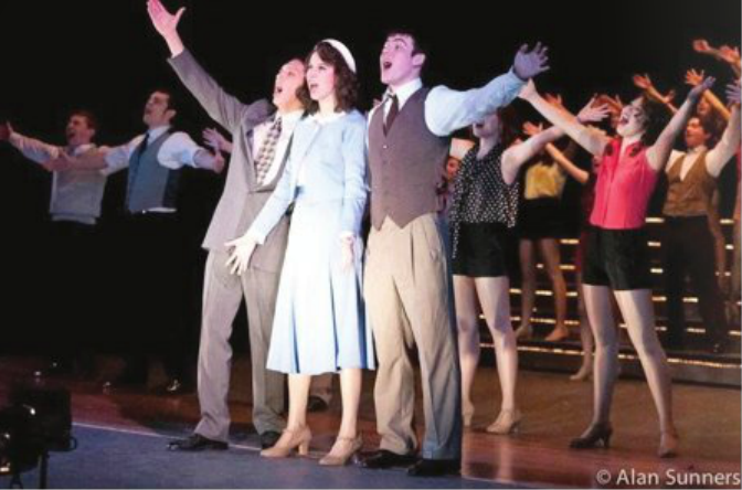 Alex Knapp, Kristen Moisey, Aidan McLoughlin, and the rest of the 42nd Street cast perform Lullaby of Broadway.