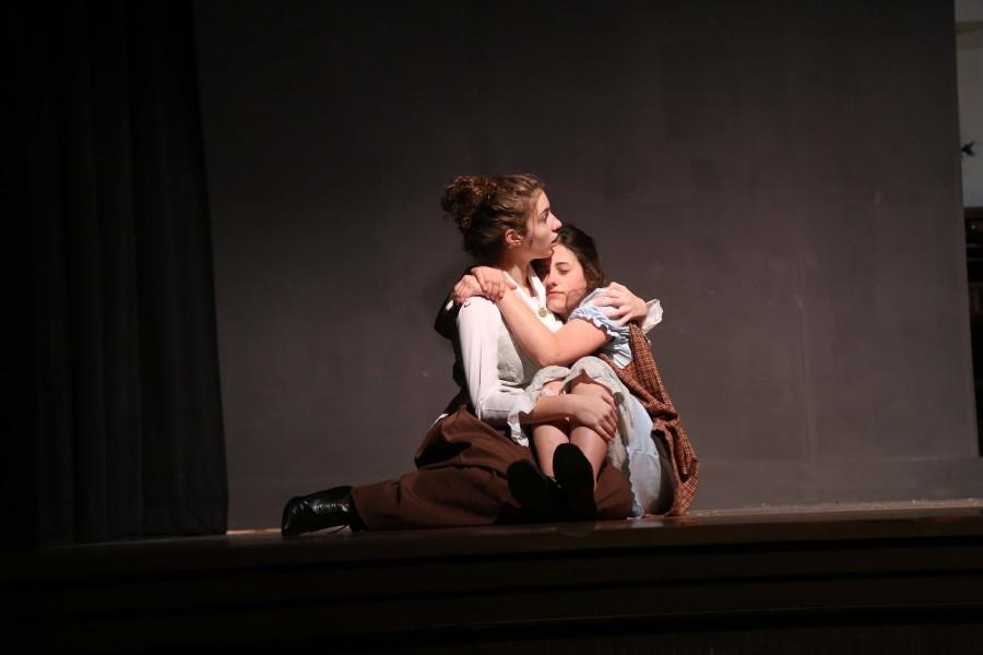 Kate Heller (Lexi Brown) comforts Helen Keller (Mary Felix).