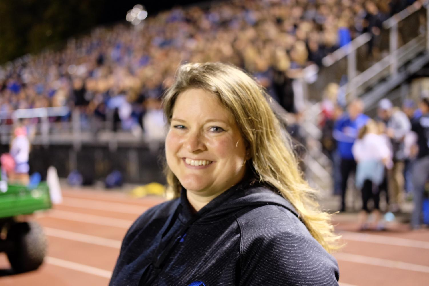 Ms. Brinson has been getting to know the community at Friday night football games.