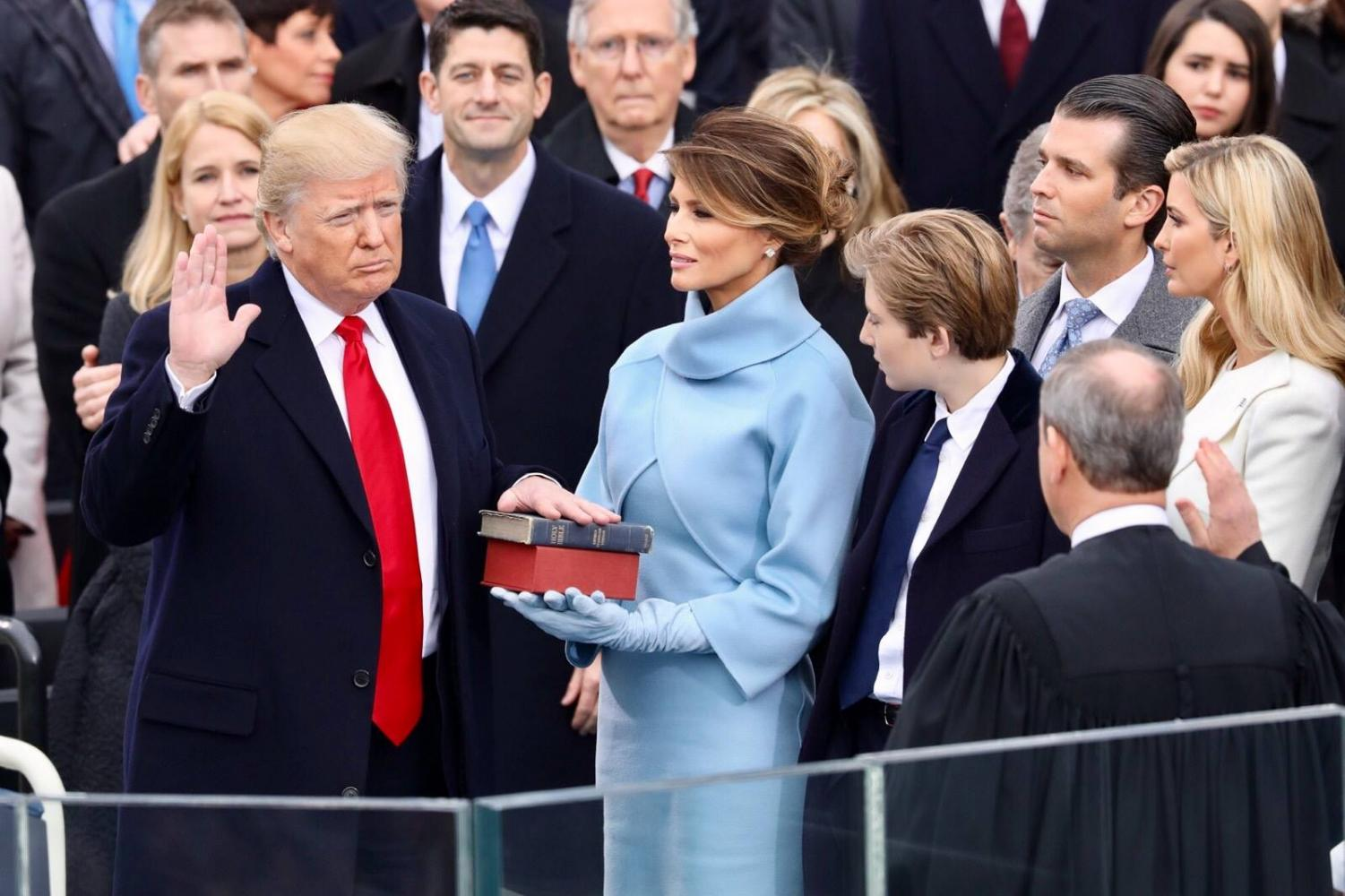 President Donald Trump being sworn in on January 20, 2017.