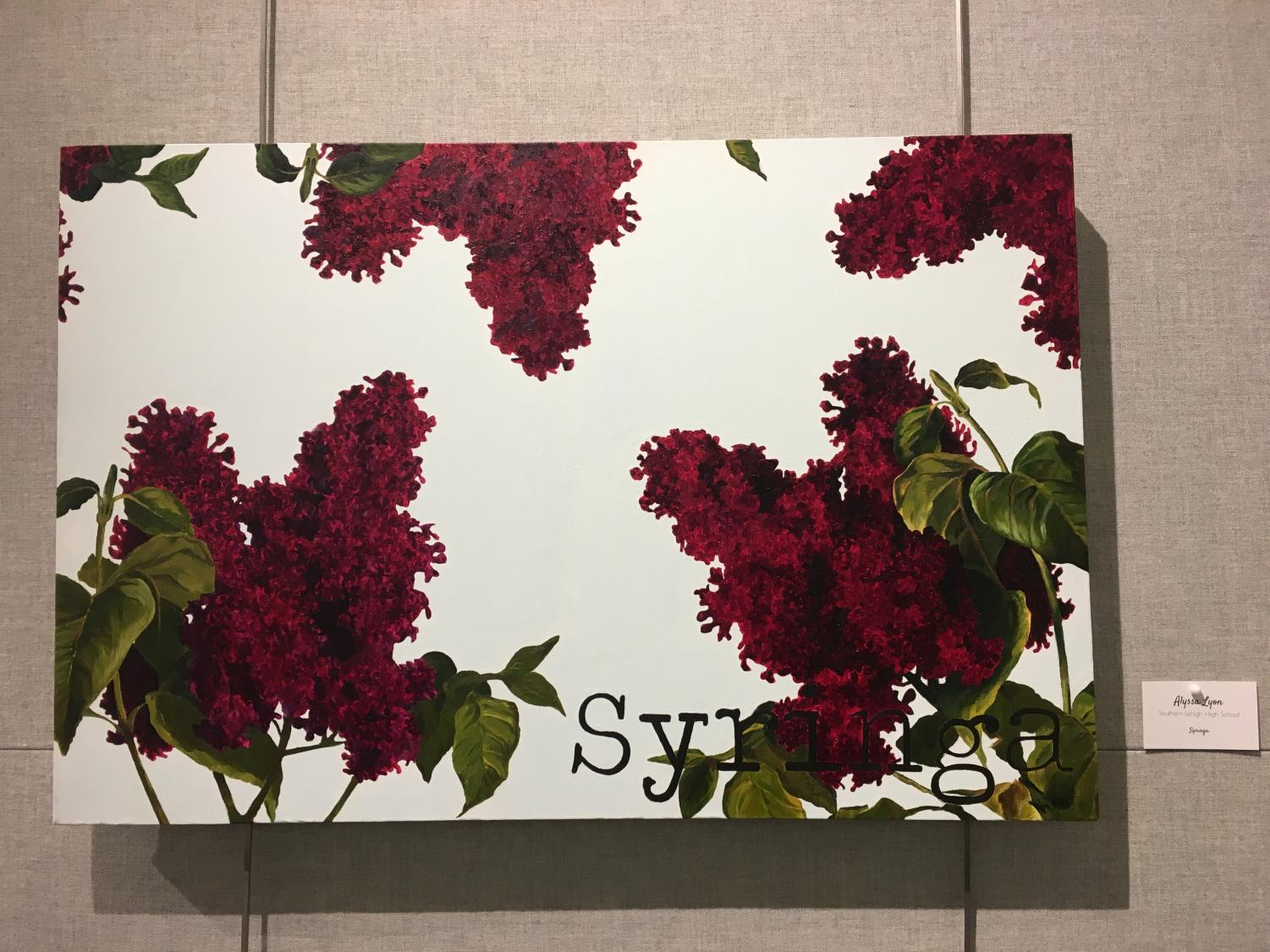 Junior Alyssa Lyon painted lilac for the display.