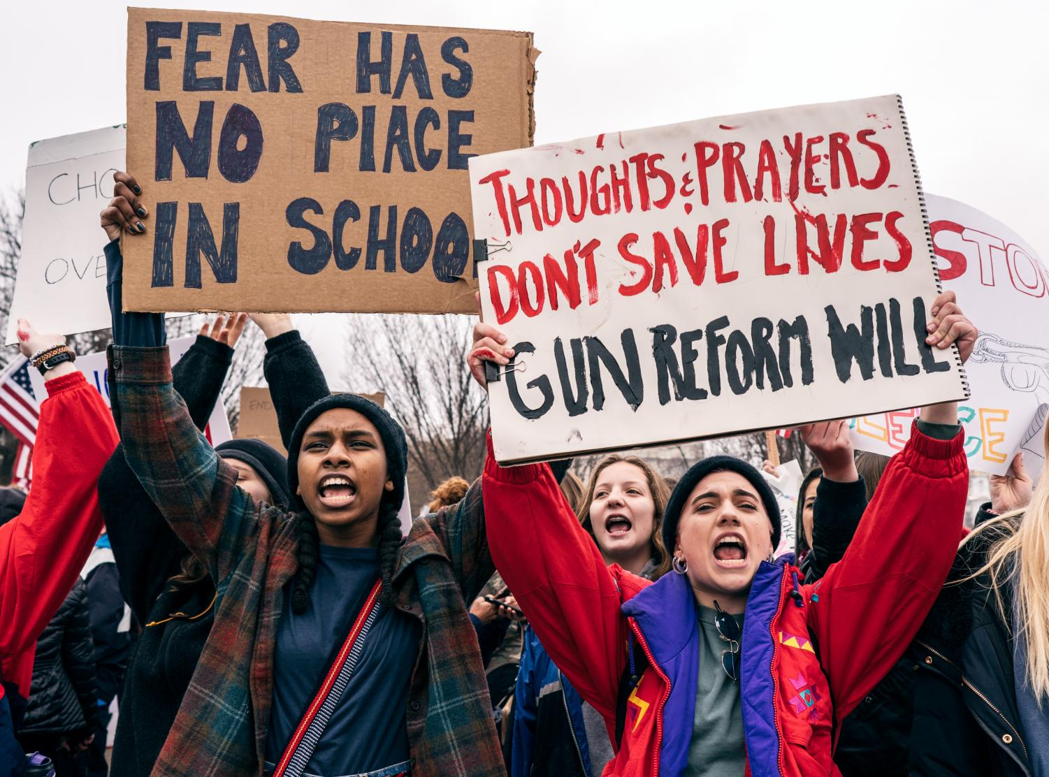 Student advocates for gun control rally in Washington, D.C. in response to mass shootings in American schools.