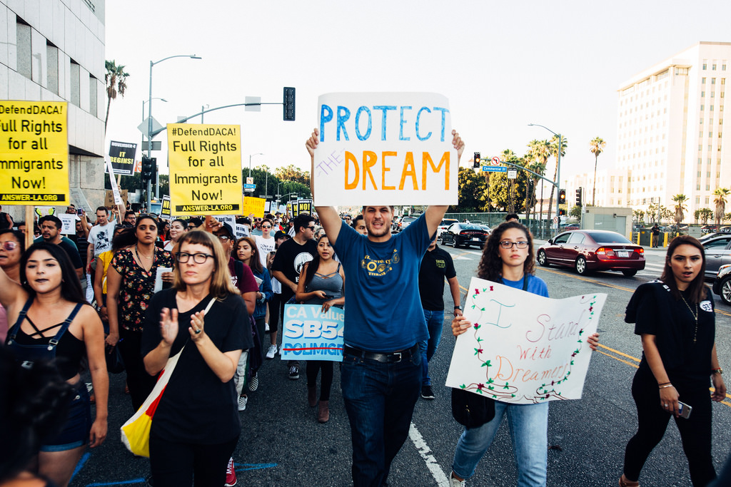 Protesters advocate for keeping DACA and supporting dreamers.