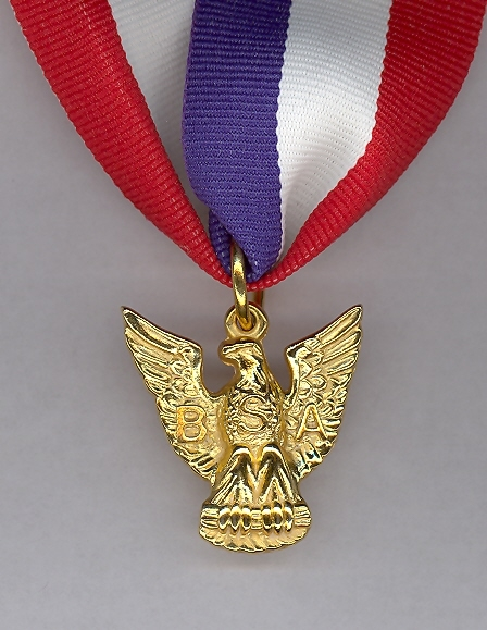 The scouts receive this medal along with a patch when they reach the Eagle Scout rank.