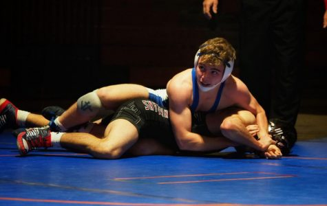Nick Colasurdo wrestles an opponent from Lehighton at a home match on January 4th. Although Colasurdo would win his duel 7-2, Southern Lehigh lost the match 47-16.