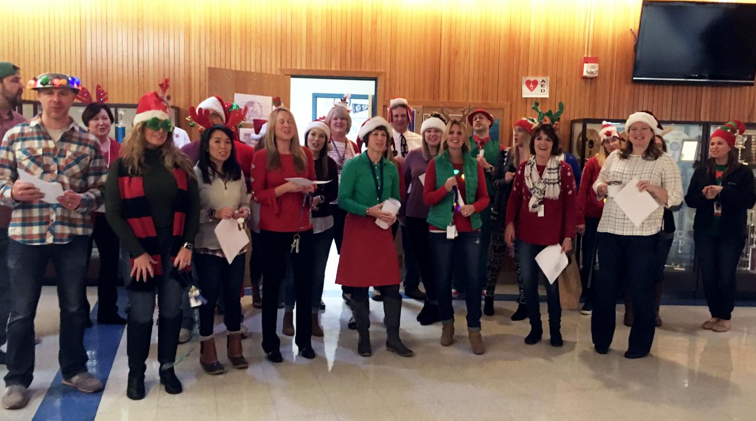 Teachers participated in an impromptu faculty choir, the Spartairs, during the holidays.