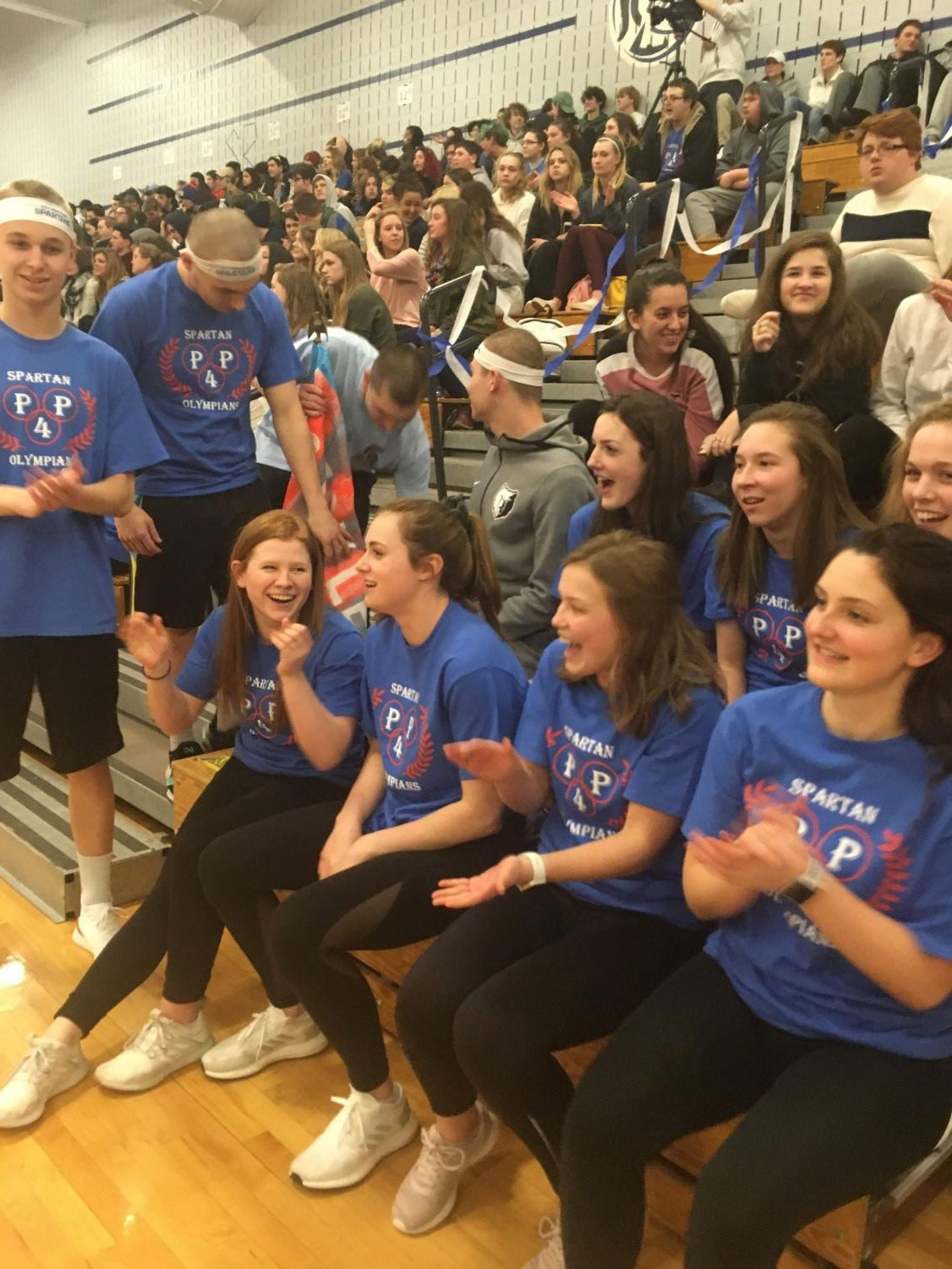 """Many """"Olympic"""" teams competed in different activities during the school-wide pep rally."""