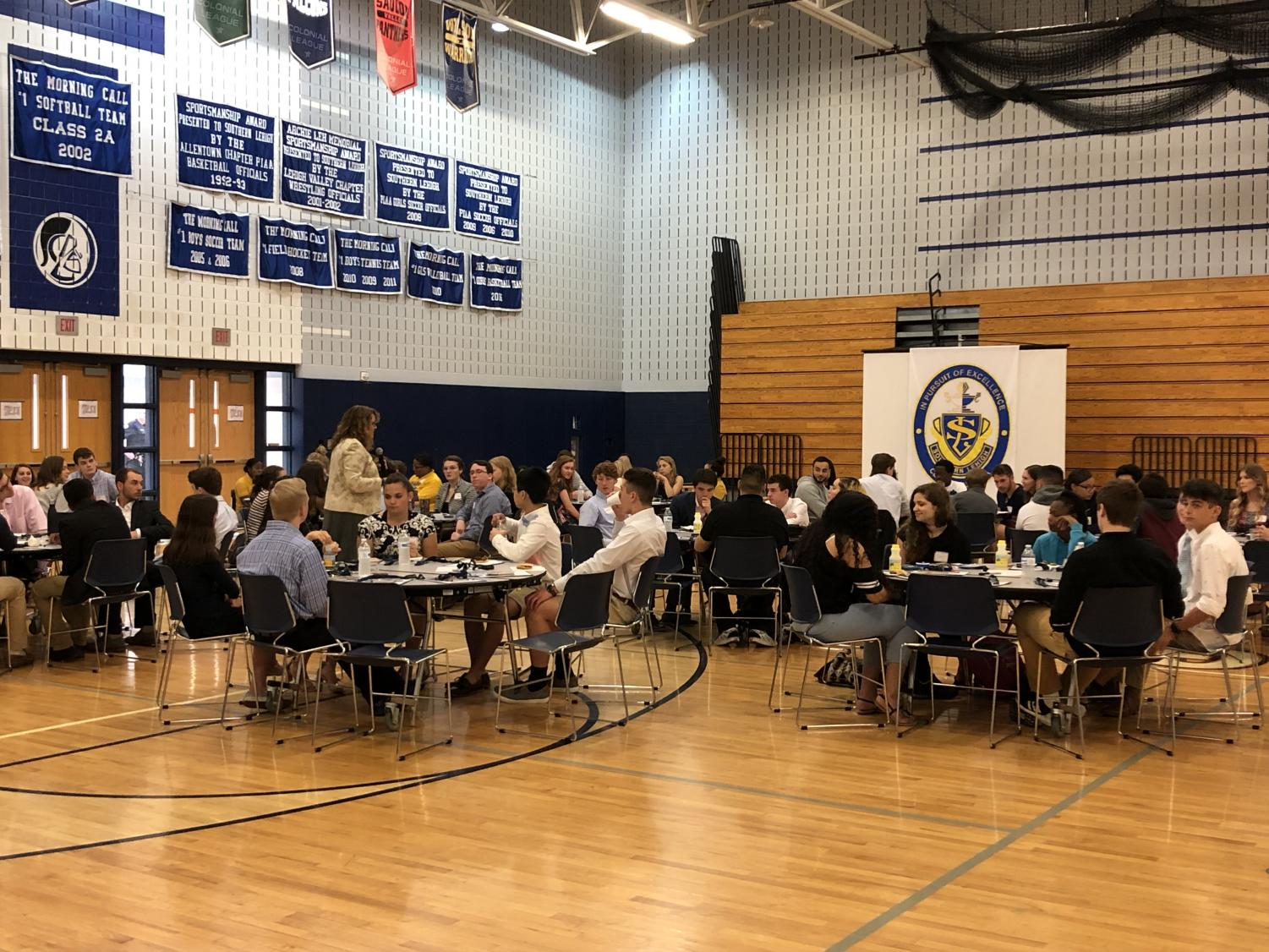 Shapiro's staff met with students from several Lehigh Valley area high schools in smaller roundtable discussions in the SLHS gymnasium.