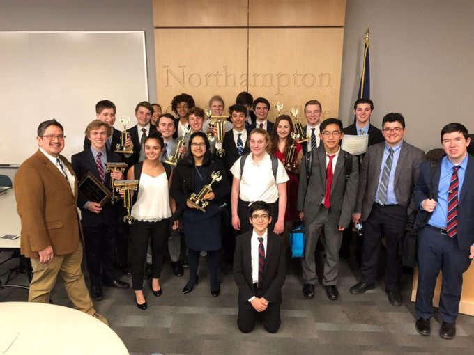 Speech+and+debate+students+after+a+tournament+at+Northampton+Community+College%2C+where+a+dozen+students+qualified+for+Nationals.+