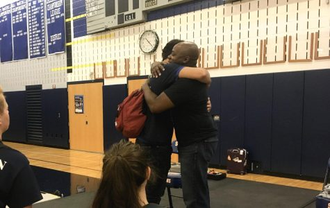 After the assembly, Dr. Mykee Fallon talked to students and embraced them as they shared their own stories.