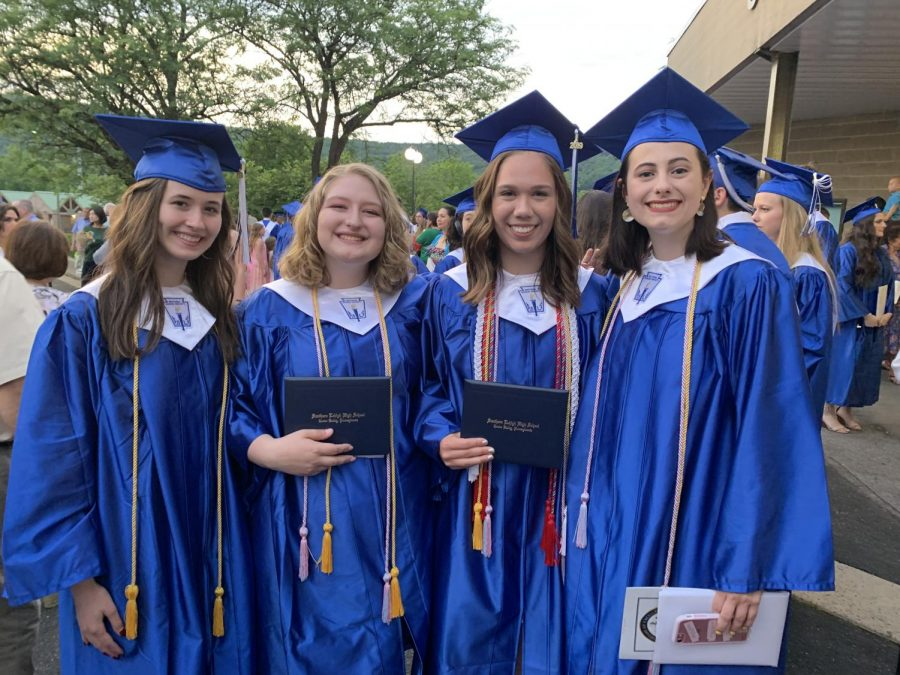 Sarah+Jacobson+and+Bridgette+Lang+were+among+the+young+women+of+the+Class+of+2019+who+wore+blue+instead+of+white.
