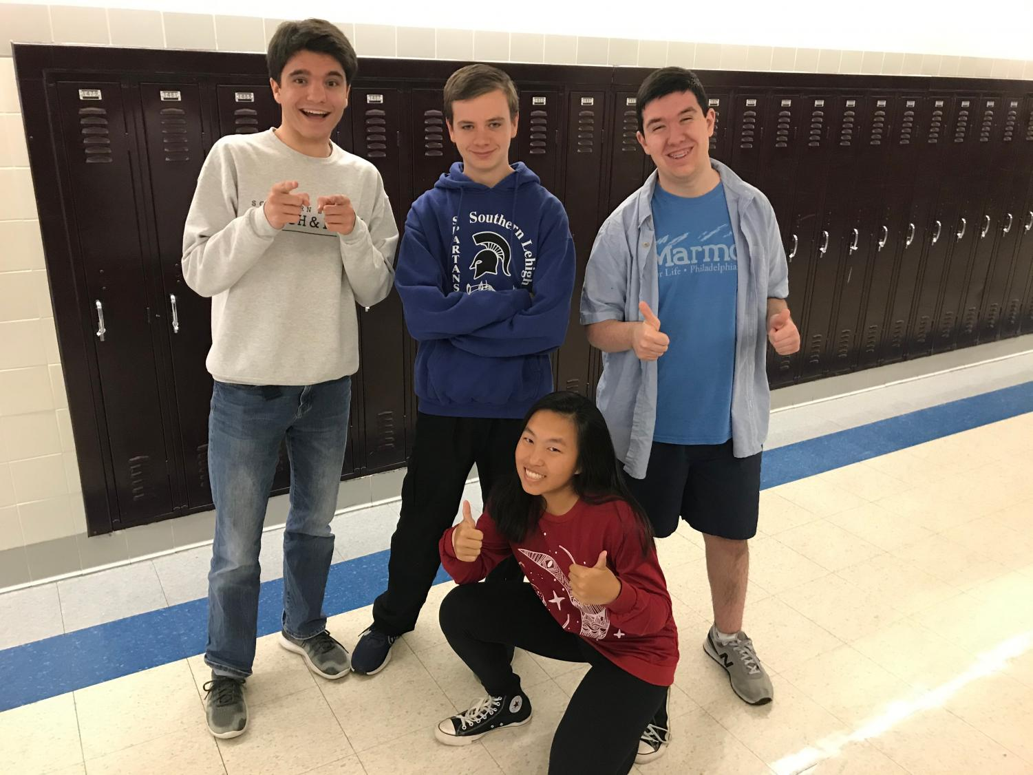 (from left to right) Junior President Cameron Hines, Vice President Jack Ziets, Secretary Erica Wang, and Treasurer Michael Woods posing for a picture after winning the class election in October.