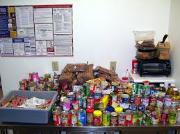 An image of food items donated to a food pantry.