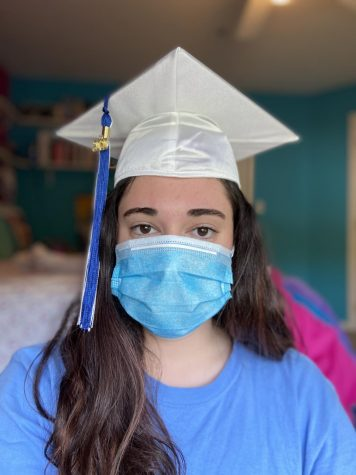 Senior Kate Miller poses with face mask and graduation cap.