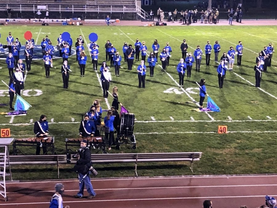 This year the marching band performed a standstill show comprised of classic rock tunes to a small audience on three Fridays in October.